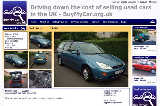Car detail page from BuyMyCar.org.uk