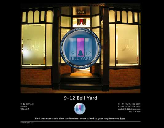 9-12 Bell Yard Main Website, Intro page with Flash logo