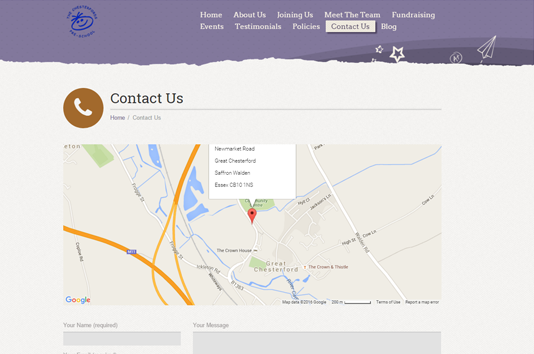 The Chesterfords Preschool website contact page with map