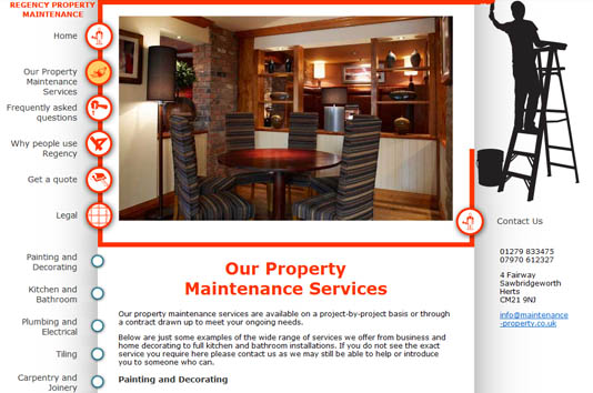 Regency Property Maintenance example page